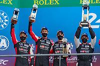 #8 Toyota Gazoo Racing Toyota GR010 - Hybrid Hypercar, Sébastien Buemi, Kazuki Nakajima, Brendon Hartley, 24 Hours of Le Mans , Podium, Circuit des 24 Heures, Le Mans, Pays da Loire, France