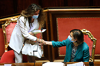 The Minister of Justice Marta Cartabia and the Undersecretary to the presidency of the council  Assuntela Messina during the information at the Senate about the violence in the prison of Santa Maria Capua Vetere<br /> Rome (Italy), July 21st 2021<br /> Photo Samantha Zucchi Insidefoto