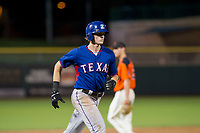 AZL Rangers designated hitter Sam Huff (12) rounds the bases after hitting a home run against the AZL Giants on September 4, 2017 at Scottsdale Stadium in Scottsdale, Arizona. AZL Giants defeated the AZL Rangers 6-5 to advance to the Arizona League Championship Series. (Zachary Lucy/Four Seam Images)