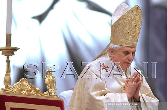 Ordained new priests Pope Benedict XVI ceremony in St.Peter Basilica at the Vatican. April 27, 2008