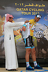 Race leader Tom Boonen (BEL) Omega Pharma-Quick Step also retains the points jersey at the end of Stage 3 of the 2012 Tour of Qatar running 146.5km from Dukhan Souq, Dukhan to Al Gharafa, Qatar. 7th February 2012.<br /> (Photo Eoin Clarke/Newsfile)