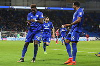 Omar Bogle of Cardiff City celebrates scoring his sides second goal of the match with team mate Nathaniel Mendez-Laing during the Sky Bet Championship match between Cardiff City and Ipswich Town at The Cardiff City Stadium, Cardiff, Wales, UK. Tuesday 31 October 2017