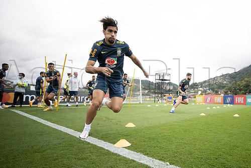 12th November 2020; Granja Comary, Teresopolis, Rio de Janeiro, Brazil; Qatar 2022 World Cup qualifiers; Lucas Paqueta of Brazil during training session