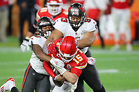 7th February 2021, Tampa Bay, Florida, USA;  Cam Gil (49) and Ndamukong Suh (93) of the Buccaneers take down Patrick Mahomes (15) of the Chiefs during the Super Bowl LV game between the Kansas City Chiefs and the Tampa Bay Buccaneers on February 7, 2021 at Raymond James Stadium