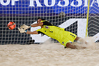 29th August 2021; Luzhniki Stadium, Moscow, Russia: FIFA World Cup Beach Football tournament; Russia versus Japan; Yusuke Kawai of Japan is beaten by the shot during the match between Russia and Japan