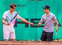Hilversum, Netherlands, August 5, 2021, Tulip Tennis center, National Junior Tennis Championships 16 and 18 years, NJK, Boys Doubles 18 years, Abel Forger (NED) (L) and Kyvan Rietkerk (NED)<br /> Photo: Tennisimages/Henk Koster