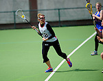 FRANKFURT AM MAIN, GERMANY - April 14: Eva Schulte #12 of Germany during the Deutschland Lacrosse International Tournament match between Germany vs Great Britain during the on April 14, 2013 in Frankfurt am Main, Germany. Great Britain won, 10-9. (Photo by Dirk Markgraf)