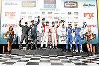 #73 MINI JCW Team, MINI JCW, ST: Mat Pombo, Mike LaMarra, #21 Bodymotion Racing, Porsche Cayman, ST: Max Faulkner, Jason Rabe, #81 BimmerWorld Racing, BMW 328i, ST: Nick Galante, Devin Jones celebrate on the podium