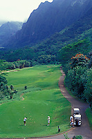 Koolau Golf Course, one of the most challenging and most scenic courses in America, from the 15th tee