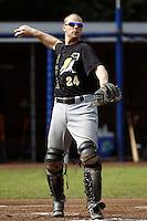 03 September 2011: Catcher Sidney de Jong of L&D Amsterdam Pirates is seen during game 1 of the 2011 Holland Series won 5-4 in inning number 14 by L&D Amsterdam Pirates over Vaessen Pioniers, in Hoofddorp, Netherlands.