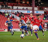 2nd April 2021, Oakwell Stadium, Barnsley, Yorkshire, England; English Football League Championship Football, Barnsley FC versus Reading; The goal is scored by Alex Mowatt of Barnsley from the penalty spot after 61 minutes for 1-1