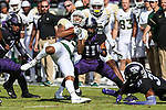 Baylor Bears running back Trestan Ebner (25) in action during the game between the Baylor Bears and the TCU Horned Frogs at the Amon G. Carter Stadium in Fort Worth, Texas.