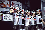 Team Sunweb at sign on before the 2018 Liege-Bastogne-Liege Femmes running 136km from Bastogne to Ans, Belgium. 22nd April 2018.<br /> Picture: ASO/Thomas Maheux | Cyclefile<br /> All photos usage must carry mandatory copyright credit (© Cyclefile | ASO/Thomas Maheux)