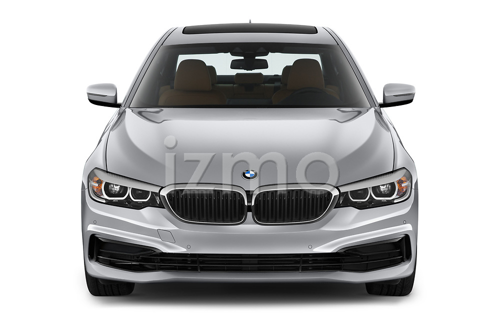 Car photography straight front view of a 2019 BMW 5-Series 530I-Sport-Line 4 Door Sedan Front View