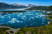 Summer landscape aerial photo of icebergs at Bear Glacier and Bear Glacier Lagoon in Kenai Fjords National Park.  Kenai Penninsula, Summer, Alaska   <br /> <br /> Photo by Jeff Schultz/  (C) 2019  ALL RIGHTS RESERVED