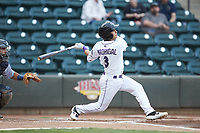 Nick Madrigal (3) of the Winston-Salem Dash follows through on his swing against the Lynchburg Hillcats at BB&T Ballpark on May 9, 2019 in Winston-Salem, North Carolina. The Dash defeated the Hillcats 4-1. (Brian Westerholt/Four Seam Images)