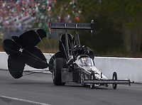 Mar 14, 2015; Gainesville, FL, USA; NHRA top fuel driver Shawn Langdon during qualifying for the Gatornationals at Auto Plus Raceway at Gainesville. Mandatory Credit: Mark J. Rebilas-
