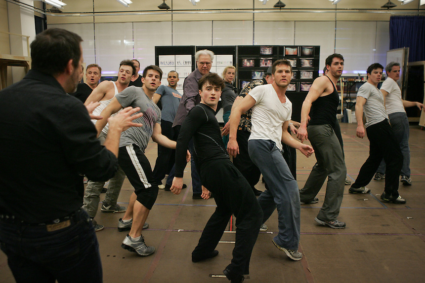 """How To Succeed in Business Without Really Trying"" in  rehearsal studio.  New 42nd Street Studios.  Photo by Ari Mintz.  2/8/2011."