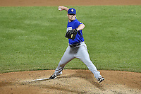 Ryan Reid (43) of the Las Vegas 51s delivers a pitch to the plate against the Salt Lake Bees at Smith's Ballpark on May 8, 2014 in Salt Lake City, Utah.  (Stephen Smith/Four Seam Images)