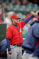 Columbus Clippers coach Jerry Owens (11) during a game against the Louisville Bats on May 1, 2017 at Louisville Slugger Field in Louisville, Kentucky.  Columbus defeated Louisville 6-1  (Mike Janes/Four Seam Images)