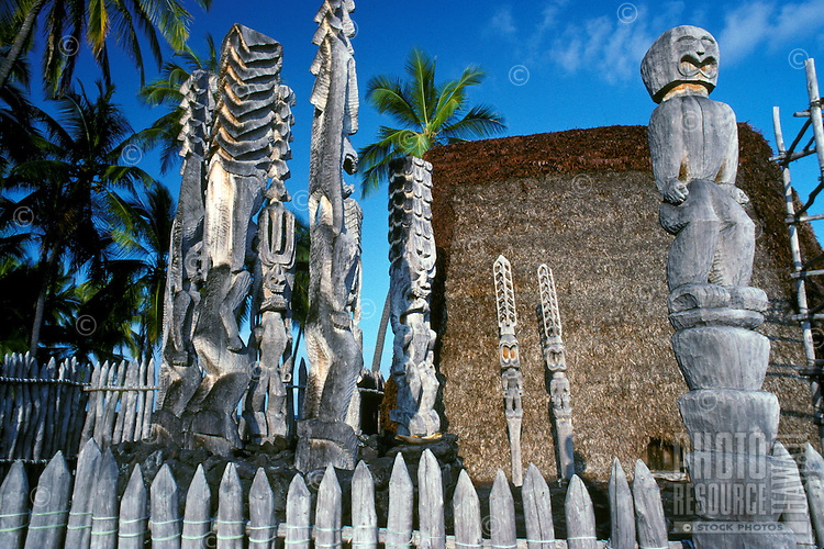 Hale o Keawe, a reconstructed temple with carved wooden figures at Puuhonua O Honaunau National Historical Park (City of Refuge)