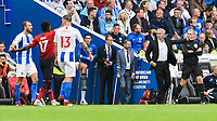 Jose Mourinho Manager of Manchester United Frustrated  during the Premier League match between Brighton and Hove Albion and Manchester United at the American Express Community Stadium, Brighton and Hove, England on 19 August 2018. Photo by Edward Thomas / PRiME Media Images.
