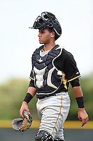 Pittsburgh Pirates catcher Yoel Gonzalez (41) during a minor league spring training game against the Toronto Blue Jays on March 26, 2015 at Pirate City in Bradenton, Florida.  (Mike Janes/Four Seam Images)