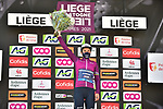 Elisa Longo Borghini (ITA) Trek-Segafredo wears the Womens Tour leaders jersey after finishing Liege-Bastogne-Liege Femmes 2021 in 3rd place, running 141km from Bastogne to Liege, Belgium. 25th April 2021.  <br /> Picture: A.S.O./Gautier Demouveaux | Cyclefile<br /> <br /> All photos usage must carry mandatory copyright credit (© Cyclefile | A.S.O./Gautier Demouveaux)