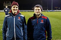 London Scottish staff show off team jackets during the Greene King IPA Championship match between London Scottish Football Club and Hartpury RFC at Richmond Athletic Ground, Richmond, United Kingdom on 11 January 2019. Photo by Carlton Myrie / PRiME Media Images