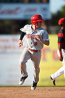 Auburn Doubledays shortstop Paul Panaccione (9) running the bases during the second game of a doubleheader against the Batavia Muckdogs on September 4, 2016 at Dwyer Stadium in Batavia, New York.  Batavia defeated Auburn 6-5. (Mike Janes/Four Seam Images)