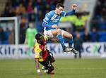 St Johnstone v Partick Thistle…11.02.17     Scottish Cup    McDiarmid Park<br />Joe Shaughnessy is tackled late by Abdul Osman<br />Picture by Graeme Hart.<br />Copyright Perthshire Picture Agency<br />Tel: 01738 623350  Mobile: 07990 594431