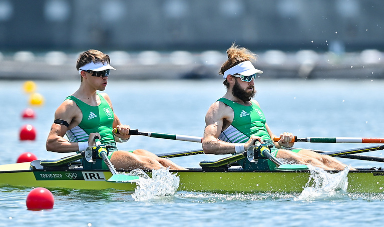 Fintan McCarthy, left, and Paul O'Donovan of Ireland in action during the  Lightweight Men's Double Sculls at the Sea Forest Waterway during the 2020 Tokyo Summer Olympic Games in Tokyo, Japan. Fintan and Paul finished with a World's Best time of 06:05.33 and will now race in the A Final tomorrow morning.