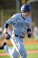 Georgetown Hoyas designated hitter Sammy Stevens (24) runs to first base during a game against the Chicago State Cougars on March 3, 2017 at North Charlotte Regional Park in Port Charlotte, Florida.  Georgetown defeated Chicago State 11-0.  (Mike Janes/Four Seam Images)