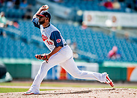 22 July 2018: Syracuse SkyChiefs pitcher Wander Suero on the mound against the Louisville Bats at NBT Bank Stadium in Syracuse, NY. The Bats defeated the Chiefs 3-1 in AAA International League play. Mandatory Credit: Ed Wolfstein Photo *** RAW (NEF) Image File Available ***