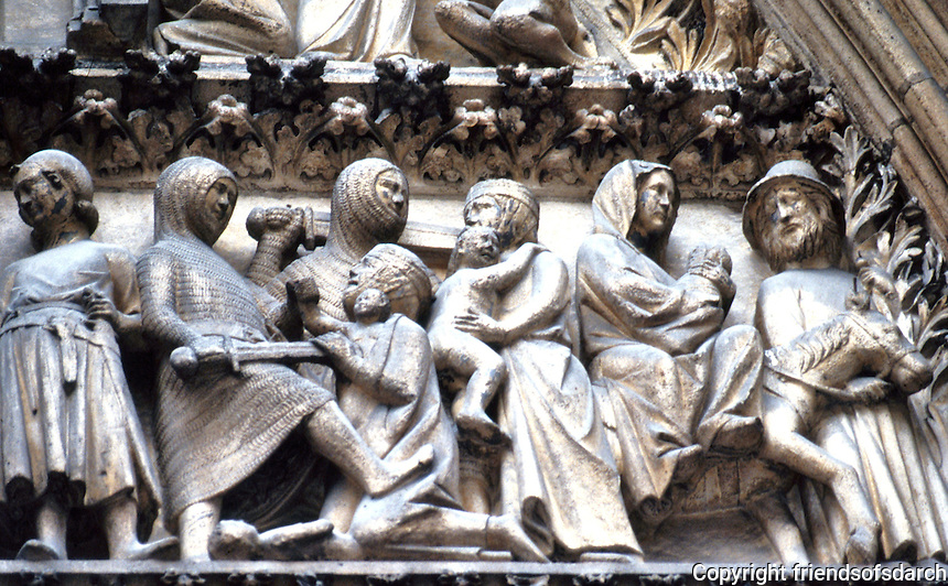 Paris: Notre Dame, Tympanum.  Cloister Portal. Photo '90.