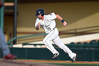 Lakeland Flying Tigers outfielder Raph Rhymes (14) running the bases during a game against the Palm Beach Cardinals on April 13, 2015 at Joker Marchant Stadium in Lakeland, Florida.  Palm Beach defeated Lakeland 4-0.  (Mike Janes/Four Seam Images)