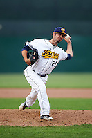 Burlington Bees relief pitcher Tyler Watson (28) delivers a pitch during a game against the Bowling Green Hot Rods on May 7, 2016 at Community Field in Burlington, Iowa.  Bowling Green defeated Burlington 11-1.  (Mike Janes/Four Seam Images)