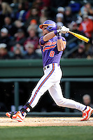 Third baseman Weston Wilson (8) of the Clemson Tigers bats in the Reedy River Rivalry game against the South Carolina Gamecocks on Saturday, February 28, 2015, at Fluor Field at the West End in Greenville, South Carolina. South Carolina won, 4-1. (Tom Priddy/Four Seam Images)