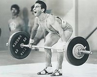 1976 FILE PHOTO - ARCHIVES -<br /> <br /> All set now: Colombia's Ezequiel Sanchez steadies himself for lift in bantamweight preliminary yesterday. He finished last in a field of eight weightlifters.<br /> <br /> <br /> Bezant, Graham<br /> Picture, 1976,<br /> <br /> 1976<br /> <br /> PHOTO : Graham Bezant - Toronto Star Archives - AQP