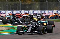 1st November 2020, Imola, Italy; FIA Formula 1 Grand Prix Emilia Romagna, Race Day;  77 Valtteri Bottas FIN, Mercedes-AMG Petronas Formula One Team, ahead of 33 Max Verstappen NLD, Aston Martin Red Bull Racing at the start