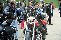"""- gathering of """"bikers"""" motorcyclists group  Hells Angels on hills of Oltrepo Pavese ....- raduno del gruppo di motociclisti """"bikers"""" Hells Angels sulle colline dell'Oltrepo Pavese"""