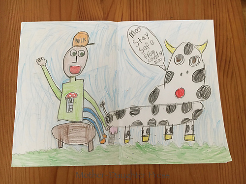 """""""Covid Safety Cow"""" Drawing by Harlow Kitchens, Grade 1, Yarmouth, ME, USA"""