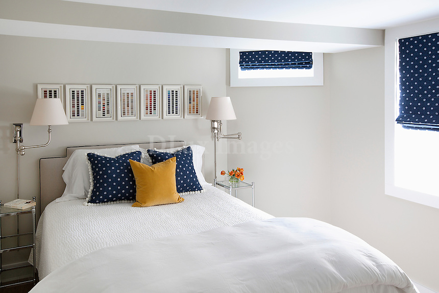 Blue pillows with white dots