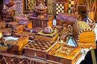 Essaouira, Morocco.  Shop Selling Souvenir Items of Thuya Wood.