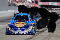 Nov 13, 2010; Pomona, CA, USA; NHRA funny car driver Jim Head during qualifying for the Auto Club Finals at Auto Club Raceway at Pomona. Mandatory Credit: Mark J. Rebilas-