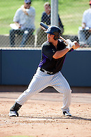 Colorado Rockies minor league infielder Jordan Ribera #45 during an instructional league game against the San Francisco Giants at the Salt River Flats Complex on October 4, 2012 in Scottsdale, Arizona.  (Mike Janes/Four Seam Images)