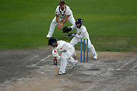 6th July 2021; Emirates Old Trafford, Manchester, Lancashire, England; County Championship Cricket, Lancashire versus Kent, Day 3; Rob Jones of Lancashire is caught at slip by Darren Stevens of Kent off the bowling of James Logan