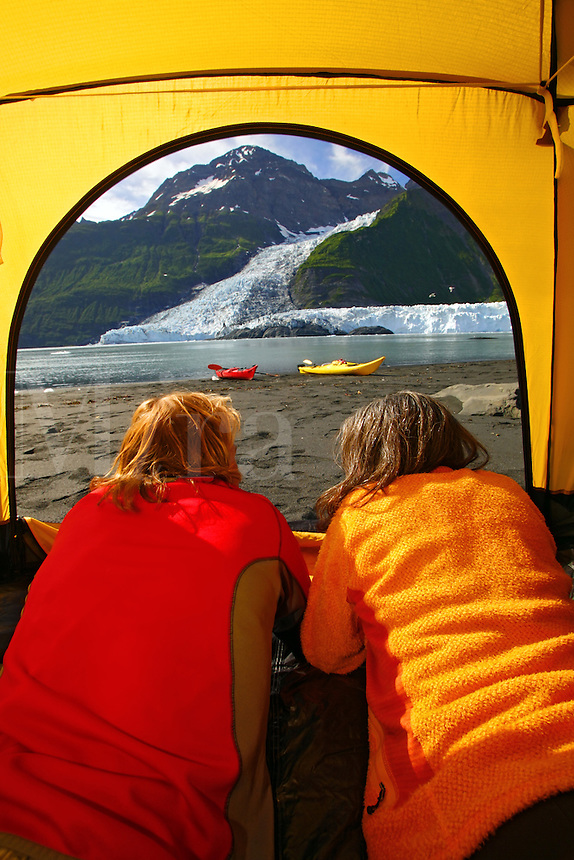 Camping on the beach in Harriman Fiord, Cascade Glacier (l) and Barry Glacier (r), Prince William Sound, Chugach National Forest, Alaska.