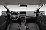 Stock photo of straight dashboard view of 2021 Hyundai Kona-Hybrid Sky 5 Door SUV Dashboard