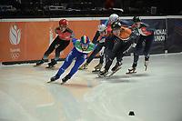 SPEEDSKATING: DORDRECHT: 05-03-2021, ISU World Short Track Speedskating Championships, QF 1500m Men, Furkan Akar (TUR), Yuri Confortola (ITA), Jovan Djordjevic (SRB), Dylan Hoogerwerf (NED), Tristan Navarro (FRA), ©photo Martin de Jong